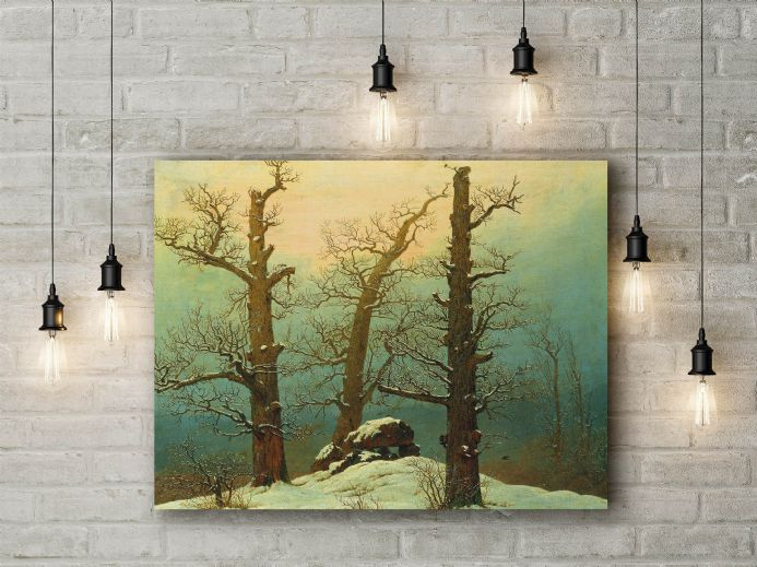 Casper David Friedrich: Cairn in Snow. Fine Art Canvas.